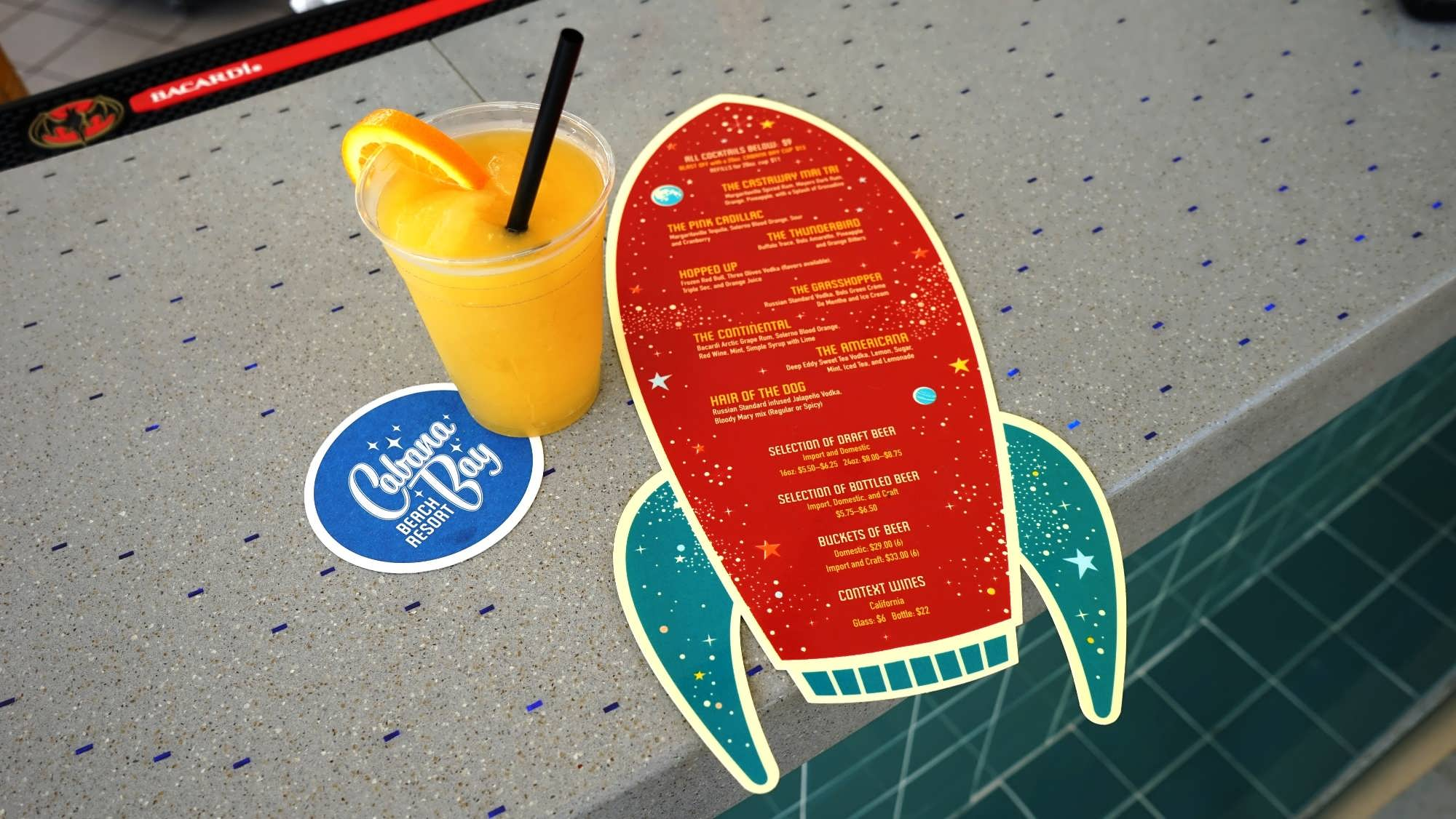 Atomic Tonic poolside bar at Cabana Bay Beach Resort