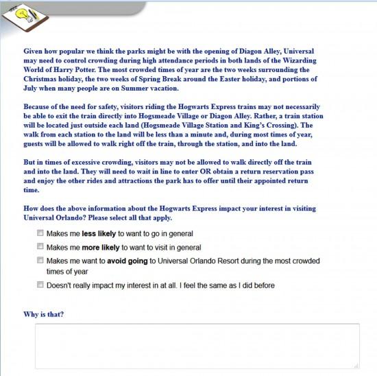 Universal Orlando's Diagon Alley survey - May 14, 2013.