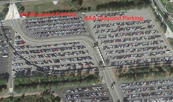 Handicapped parking at Magic Kingdom (Ticket & Transportation Center).