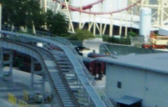 Hogwarts Express vehicles viewed from Dragon Challenge.