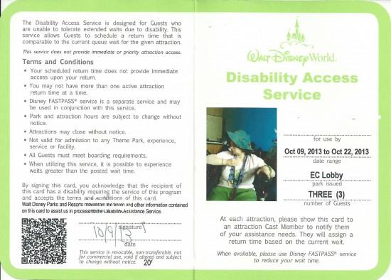 Walt Disney World's Disability Access Service card - 2013.