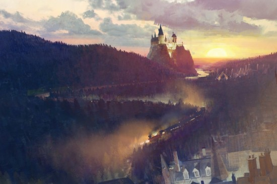 Hogwarts Express as depicted in the Diagon Alley concept art.