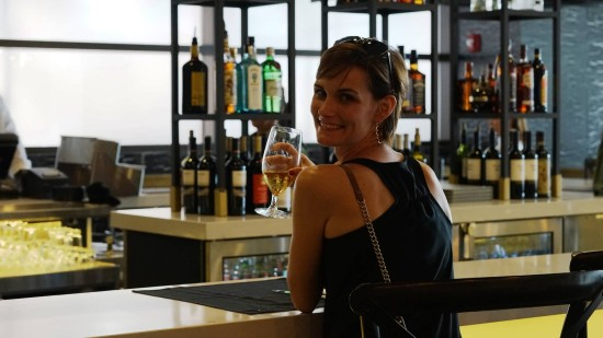 Rosie Hatfield, the first guest to buy a drink at the VIVO bar.