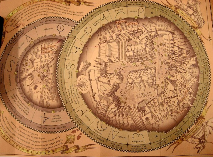The spell-casting map for Diagon Alley.