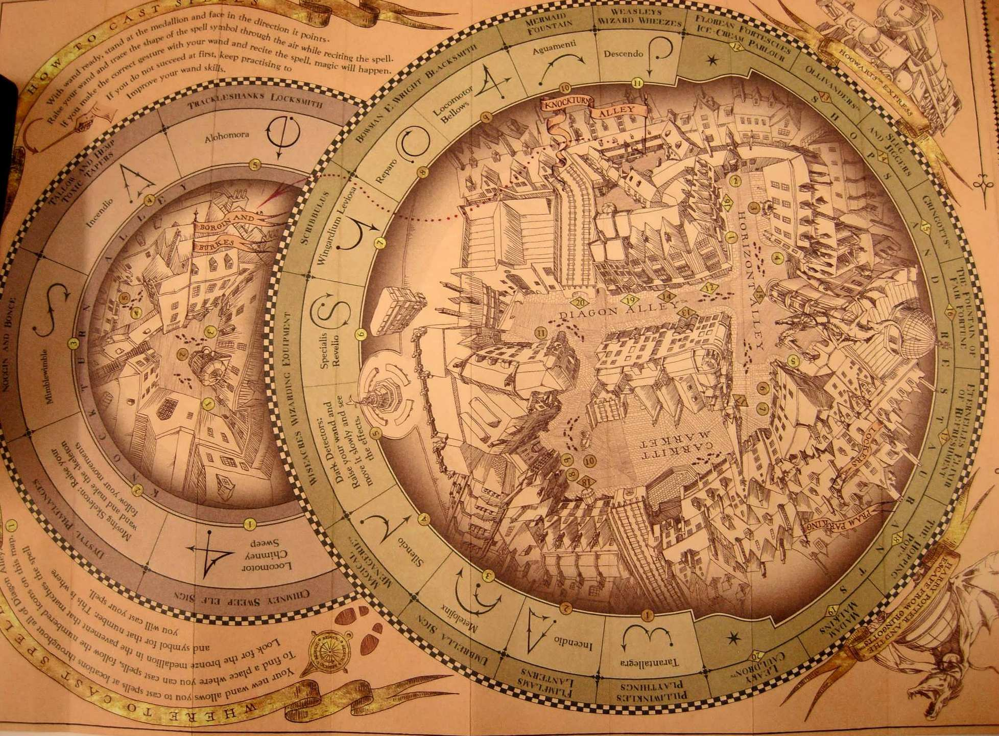 The spell-casting map for Diagon Alley