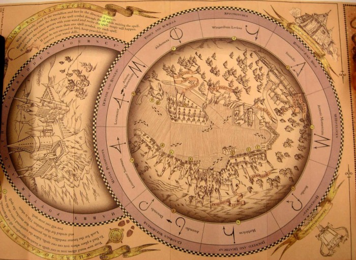 The spell-casting map for Hogsmeade.