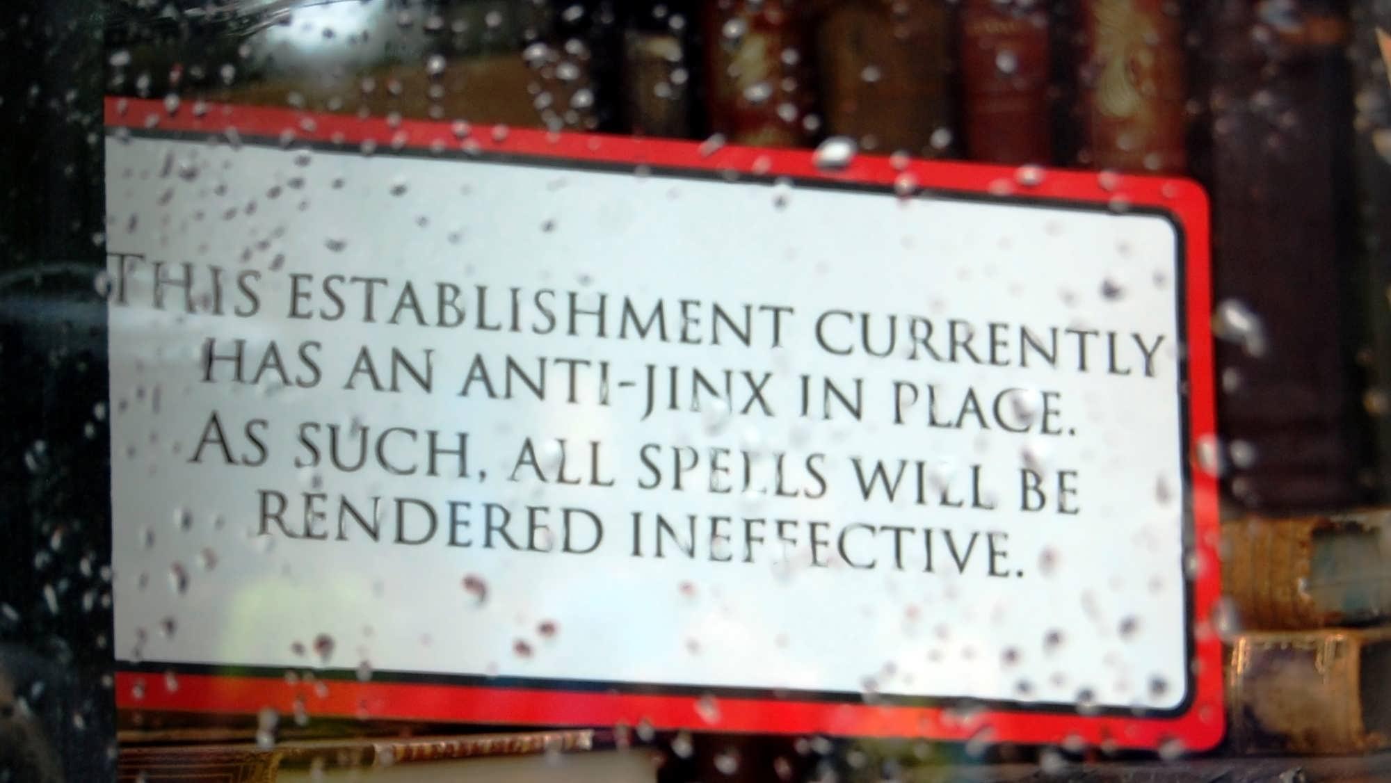 An anti-jinx sign.