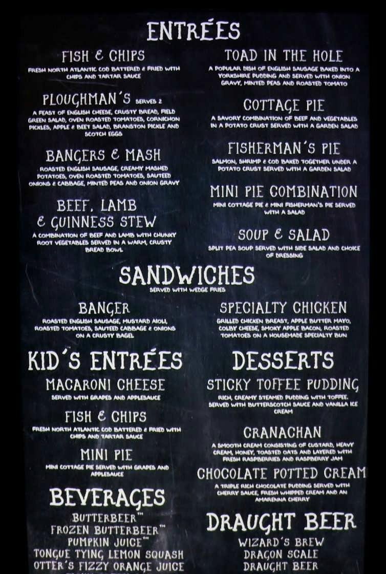 Main menu at the Leaky Cauldron