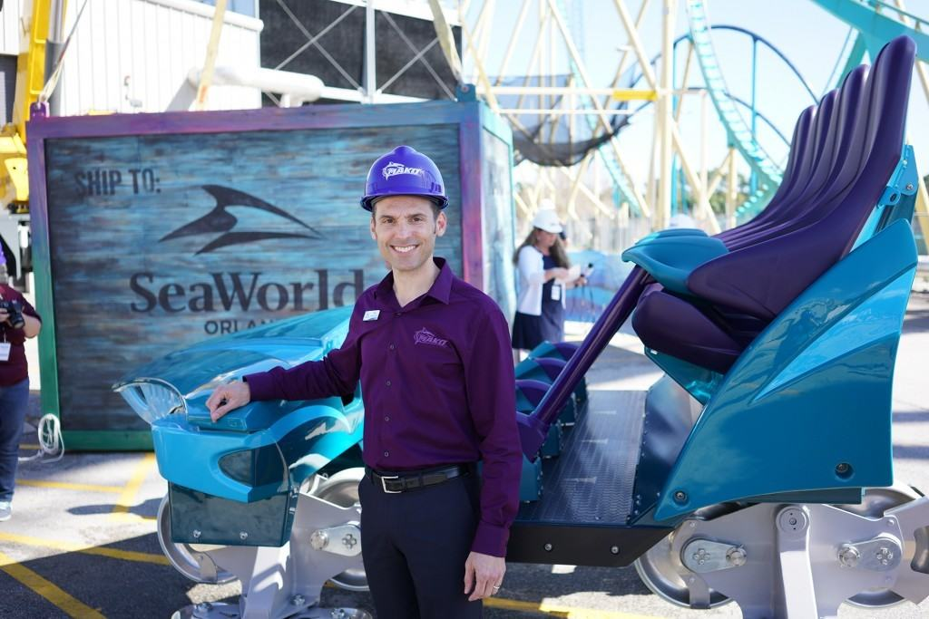 SeaWorld's Mike Denninger with Mako ride vehicle