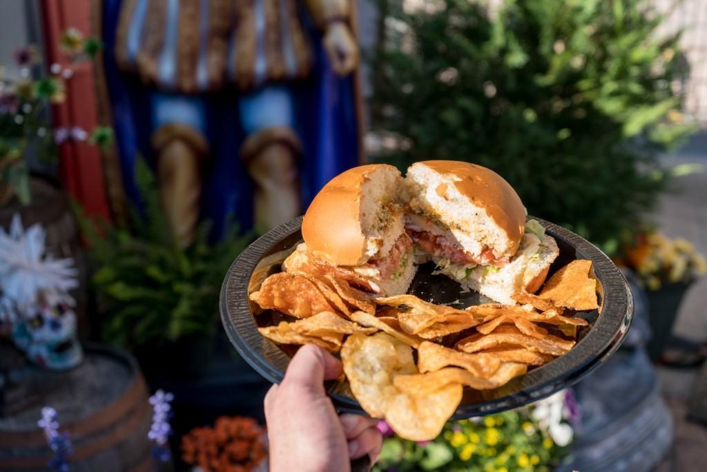 Grilled Chicken Muffaletta Sandwich at Universal Mardi Gras