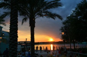 Sunset at Disney Springs with live local band.