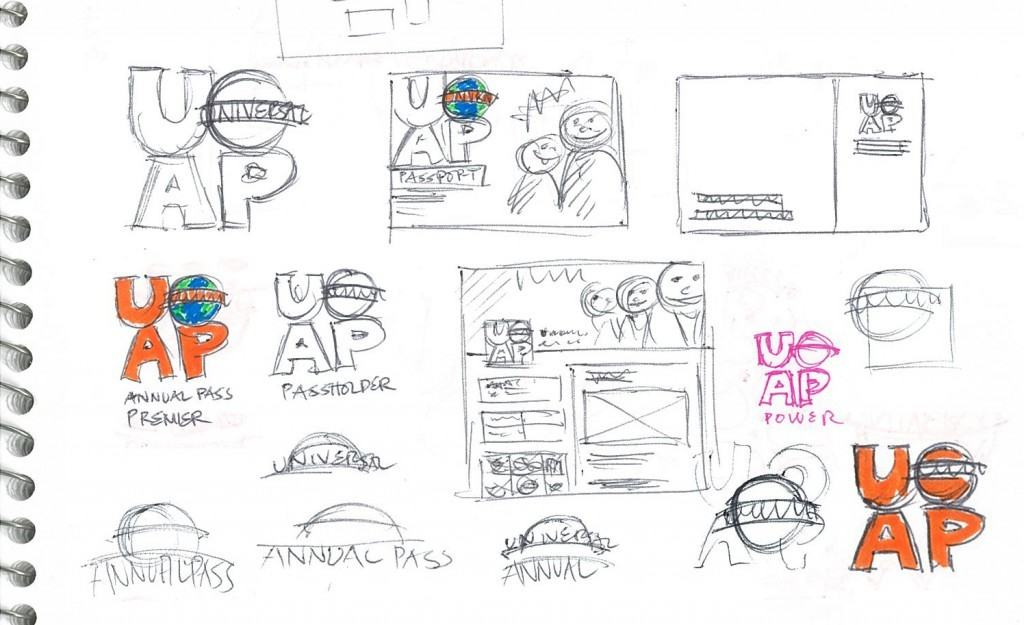 Early sketches of the Universal Orlando Annual Pass rebranding