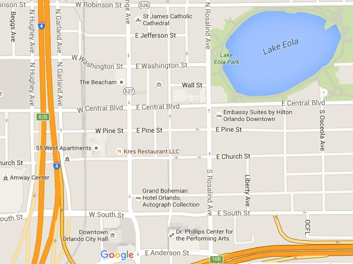 Downtown Orlando map