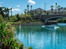 Water Taxi heading towards Loews Sapphire Falls Resort at Universal Orlando Resort
