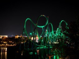 The new Incredible Hulk Coaster from across Universal's Islands of Adventure lagoon