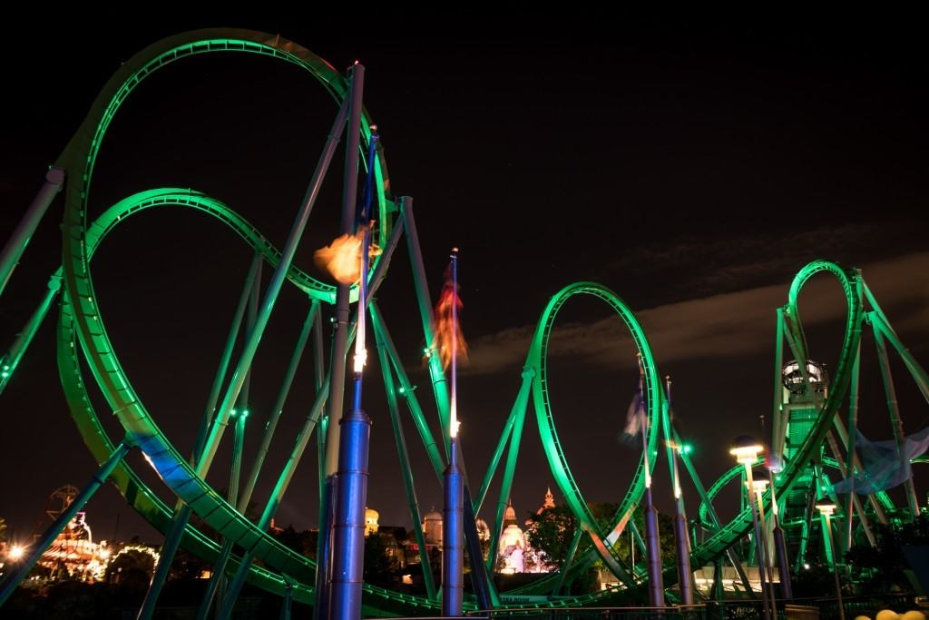 The New Incredible Hulk Coaster at night