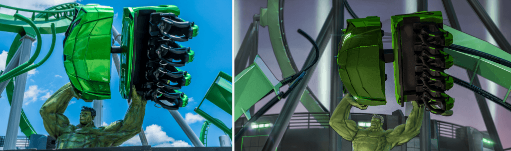 Incredible Hulk Coaster Marquee: Concept Art vs current construction