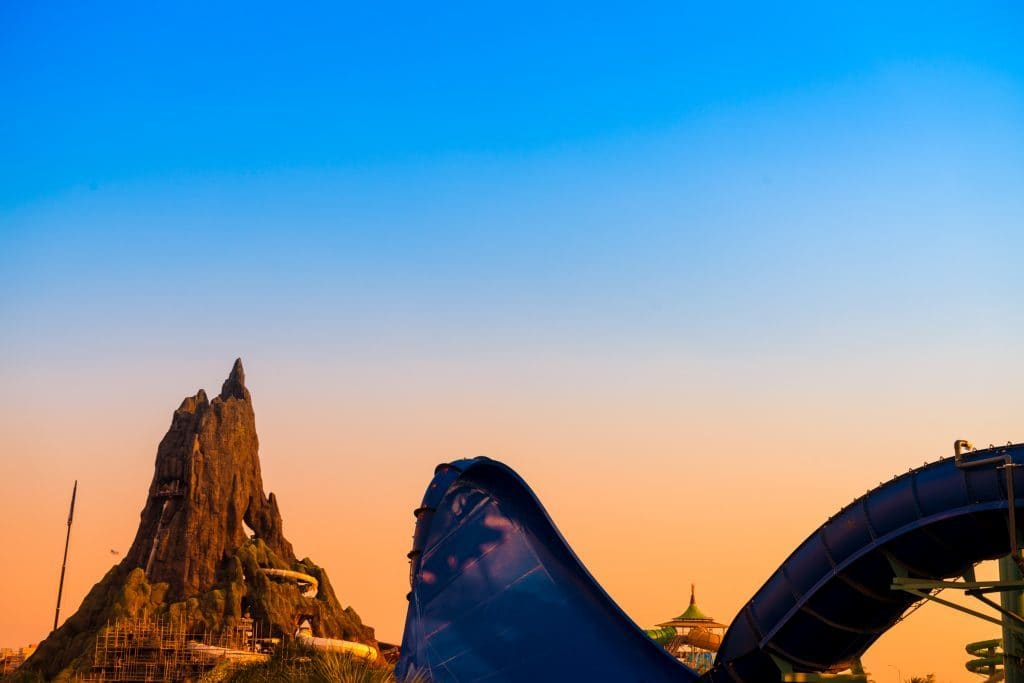 The sun sets on Universal's Volcano Bay just two short months before it opens.