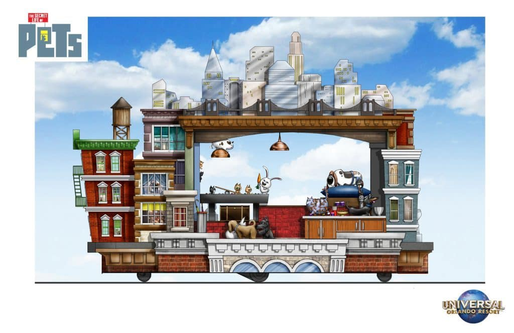 The Secret Life of Pets Apartments Superstar Parade float right side