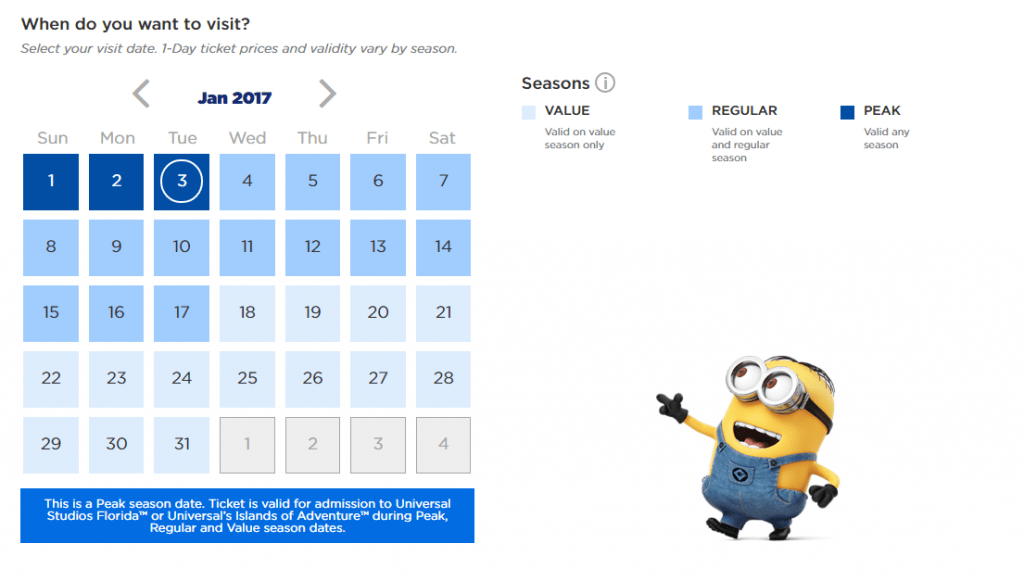 Seasonal one day ticket calendar on UniversalOrlando.com