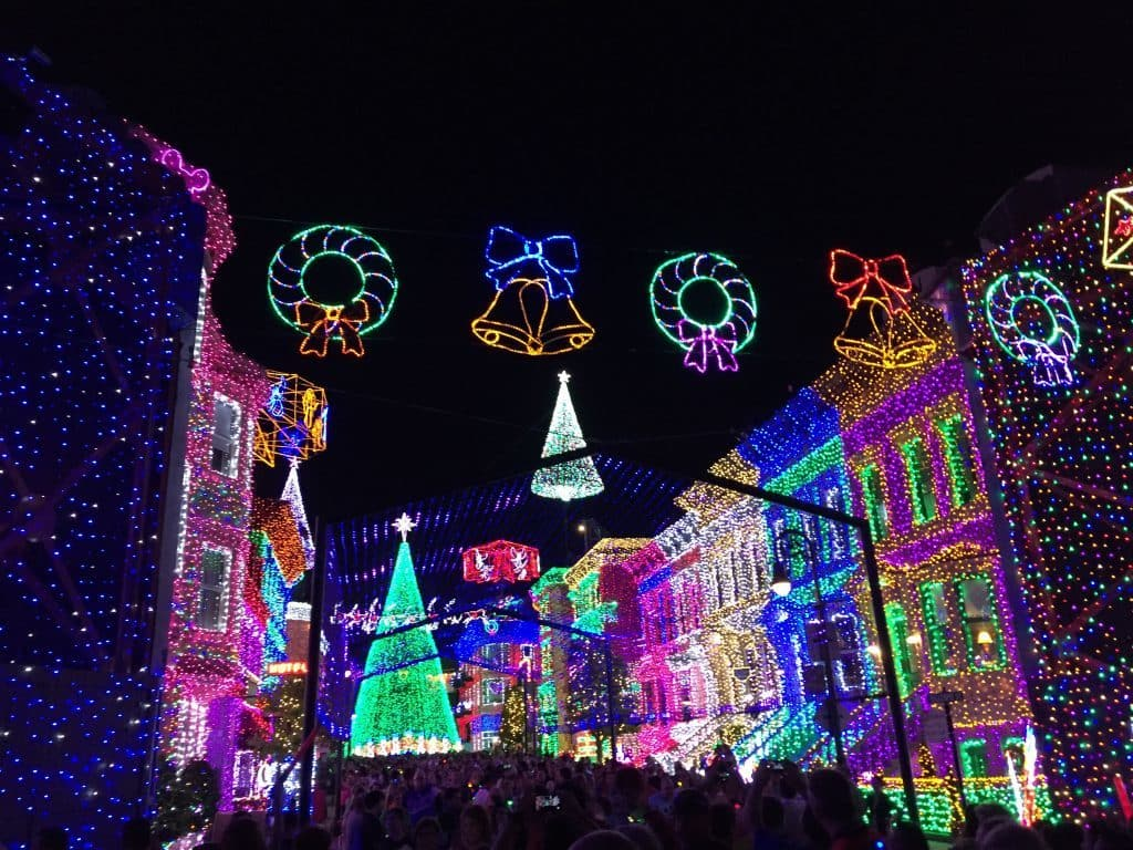 Osborne Family Lights in the former cityscape of Hollywood Studios. A variety of colorful lights.