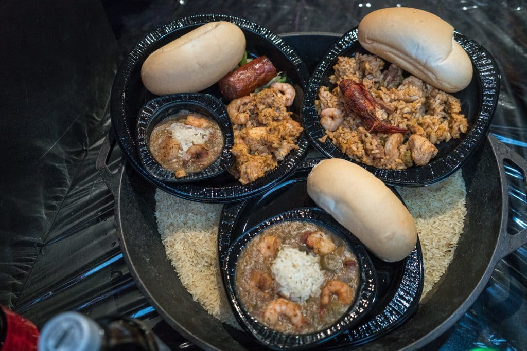 Cajun trio platter, Jambalaya, and Shrimp Gumbo at Universal Mardi Gras 2017
