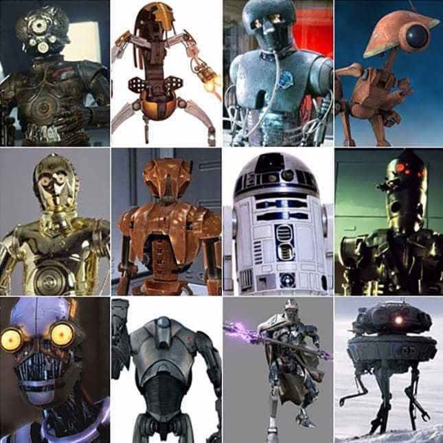 A collection of droids from Disney's Star Wars
