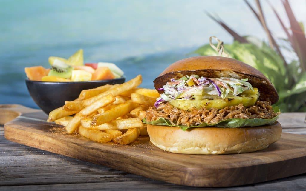 Mango BBQ pulled pork sandwich from Kohola Reef Restaurant & Social Club at Universal's Volcano Bay