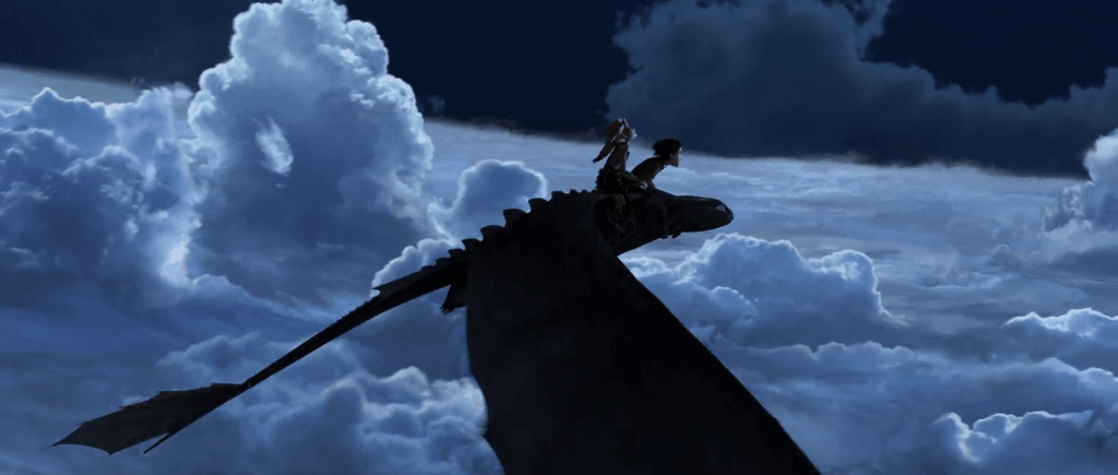 Hiccup and Astrid soar above the clouds in How to Train Your Dragon