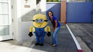 My wife Rosie with a minion at Universal Studios Florida.